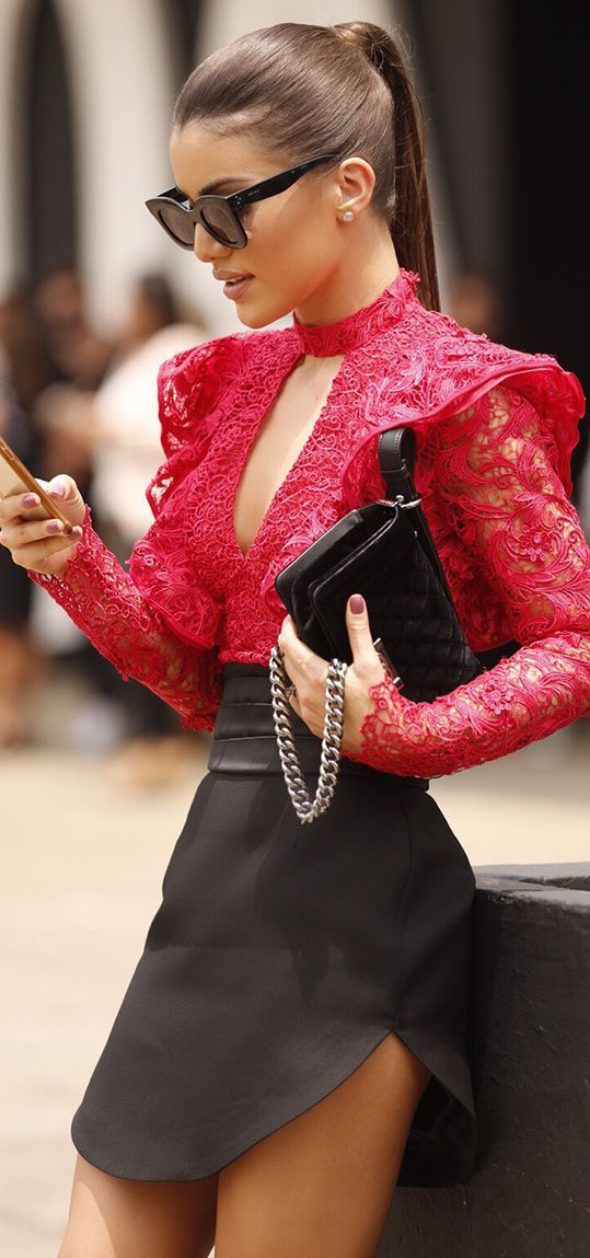 Top| Blouse| Red| Lace| Eyelet| V neck| Plunging neckline| Cleavage| Long sleeve| Sheer| See through| Tucked in| Skirt| Mini| Black| Leather| Purse| Shoulder bag| Silver| Earrings| Pearl| White| Nail| Mauve| Purple| Spring| Fall| Autumn| P523