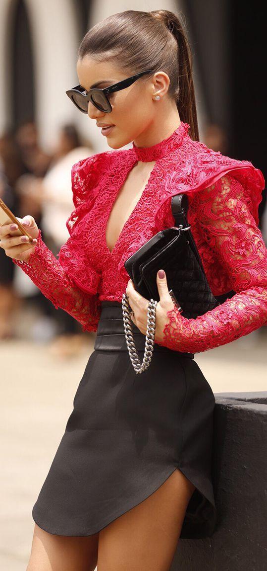 Camila Coelho Red Lace Blouse Black Cutout Skirt Fall Streetstyle Inspo