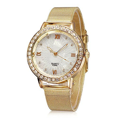 Women's Vintage Rose Gold Shell Dial Diamond Quartz Watch - Jewelry For Her