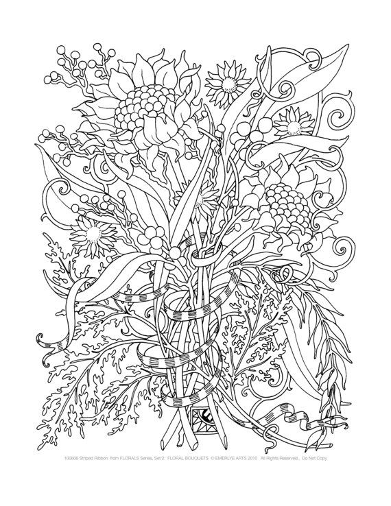 adult coloring pages floral bouquets set of 8
