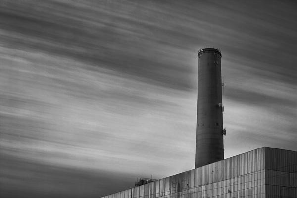 See more of my work at www.LarryMarshallPhotography.Com  Long exposure of the Encinas Power Plant in Carlsbad California.  The passing clouds turned into interesting streaks across the sky.  I stacked 10 stop and 6 stop Heliopan ND filters. FInal editing was done in NIK's Silver Efex Pro 2.