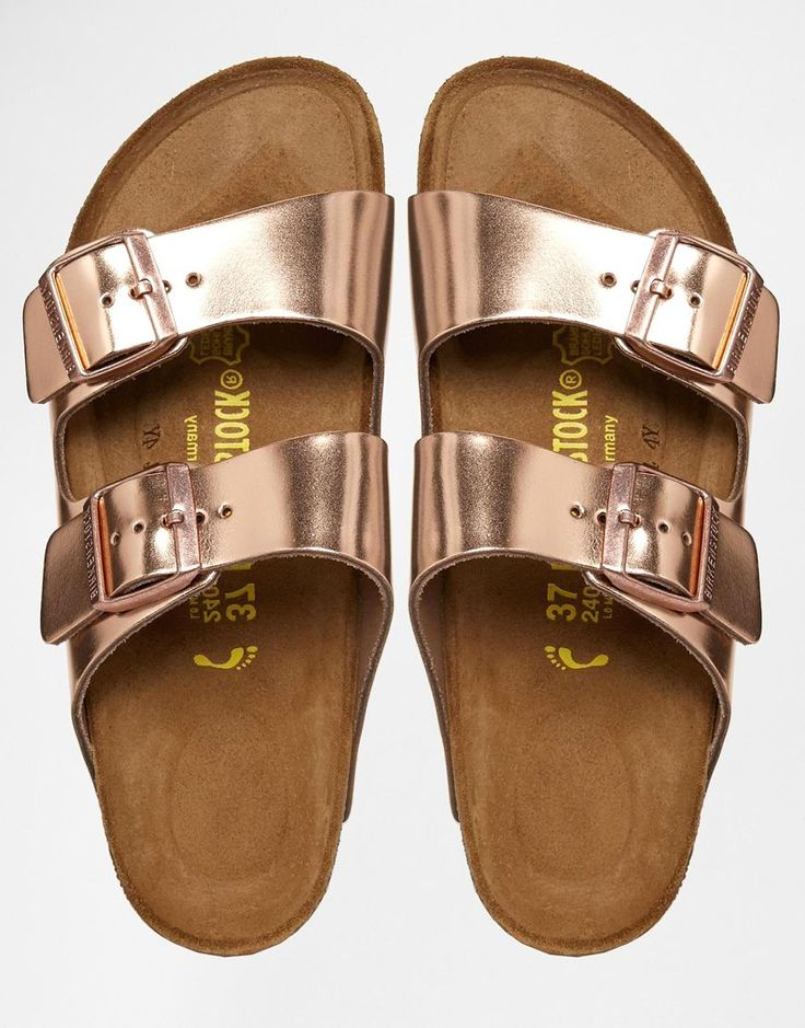Image 3 of Birkenstock Arizona Metallic Leather Copper Flat Sandals