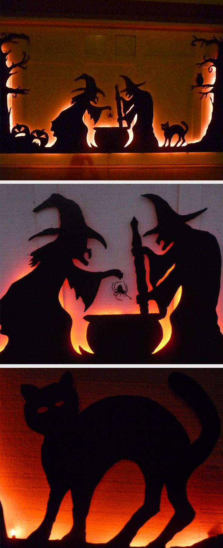 Halloween DIY Decorating Idea: A spooky garage door silhouette.