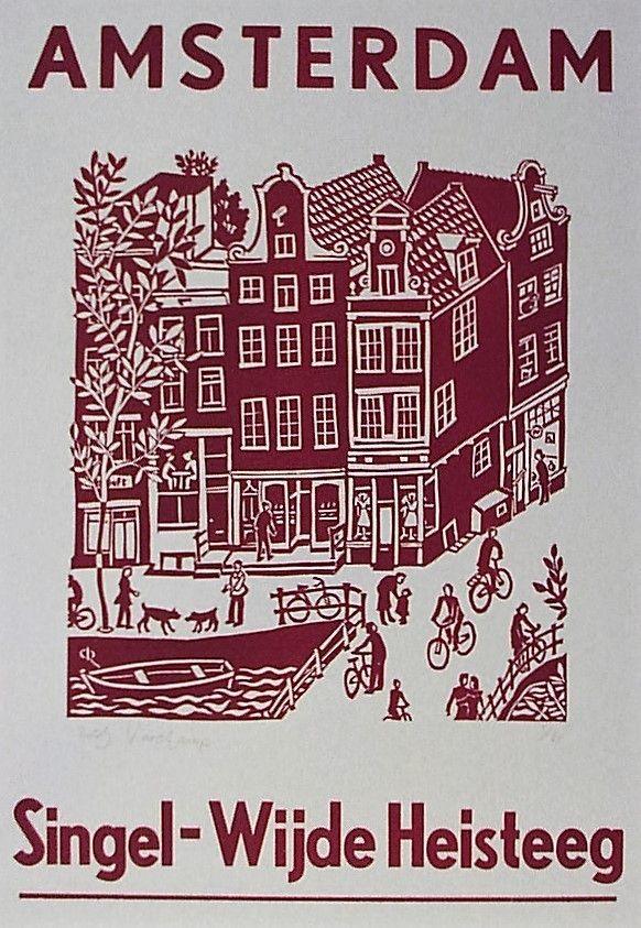 Amsterdam Singel - Wijde Heisteeg - Linocut and wooden letters