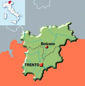 Map of Trentino Alto Adige