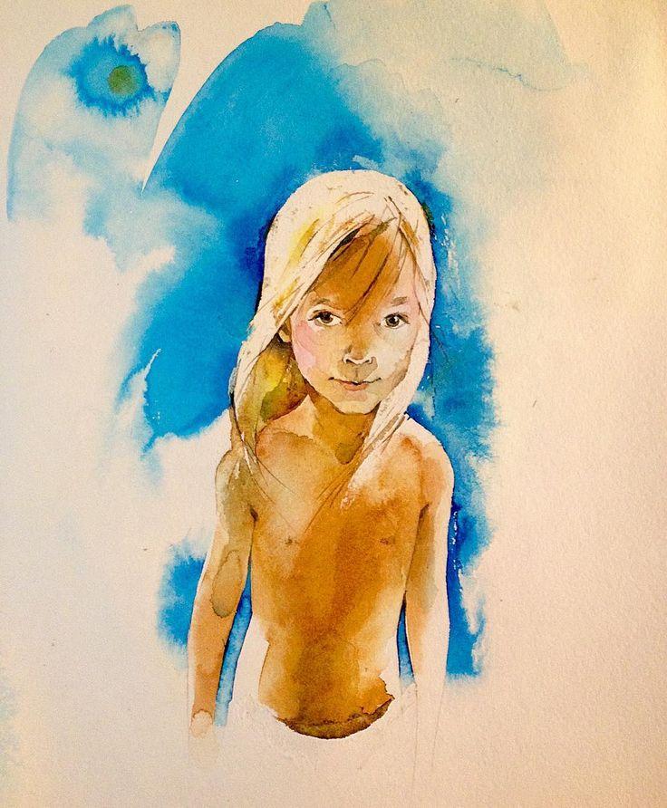 София. #love #painting #aquarelle #topcreator #portrait #watercolor #watercolorblog #illustration#girl #baby #sommer #art #artkonovalova