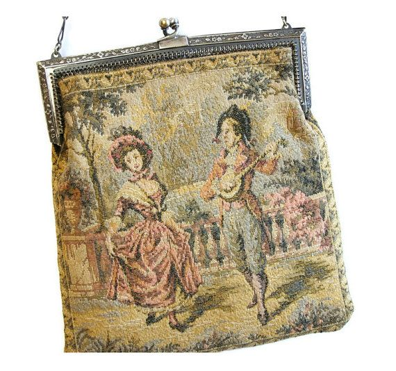 Antique French Aubusson Tapestry Purse Victorian by Curiopolis