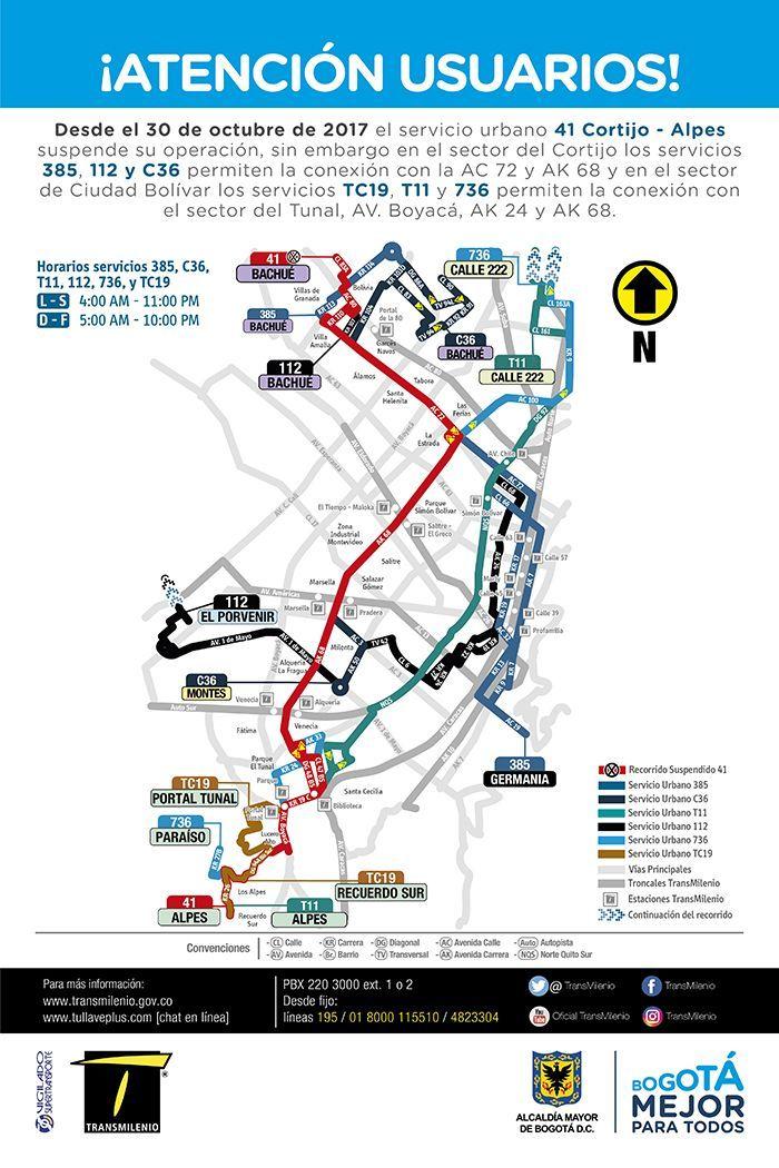 Mapa de rutas alternativas a la urbana 41 del SITP