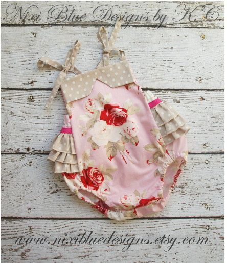 Pink Rose and gray baby girl romper Newborn by NixiBlueDesigns