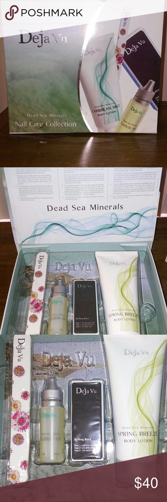 DEAD SEA MINERALS NAIL CARE SET NEW/SEALED/UNUSED. Body lotion, cuticle oil, buffing buffing block, and nail file. Dead Sea Minerals Makeup Brushes & Tools