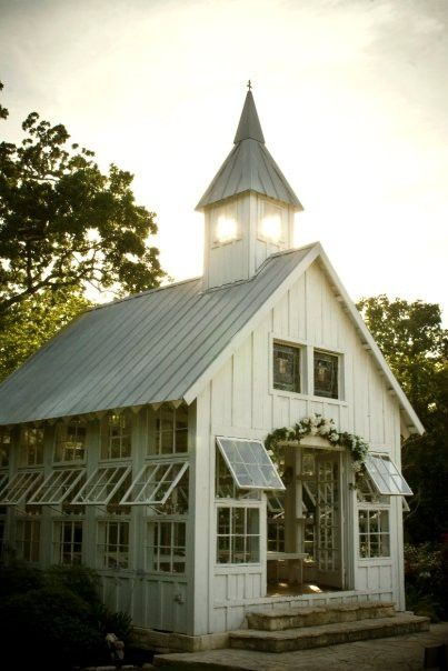 Barn turned greenhouse...Small Barns, Dreams, Old Church, Greenhouses, Gardens, Cottages, Green House,  Church Buildings, Old Barns