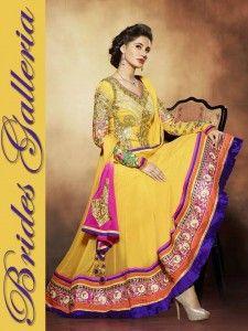 Latest Indian Salwar Suit 2014 By Brides Galleria For Girls, Nargis Fakhri Best Actress Indain Royal Blue Anarkali Frocks Collection 2014, new Galleria has a new trendy fashion Nargis Fakhri Royal Blue Royal Blue Anarkali Suit Anarkali Suit