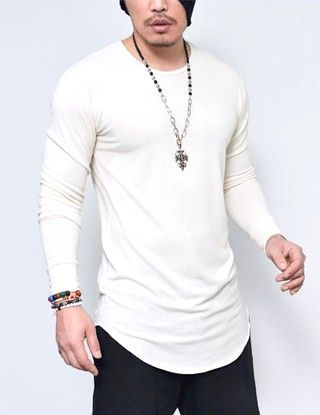 f37eb728b5 Camisa longline manga longa masculina alongada branca na internet ...