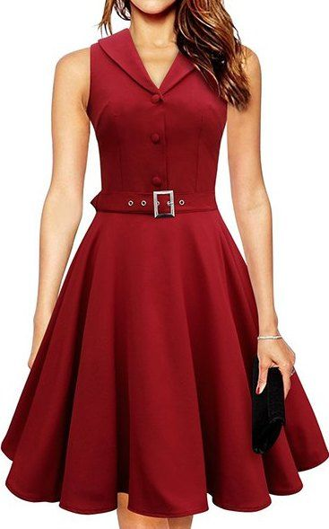 noble sleeveless turn down collar solid color button decorate a line dress