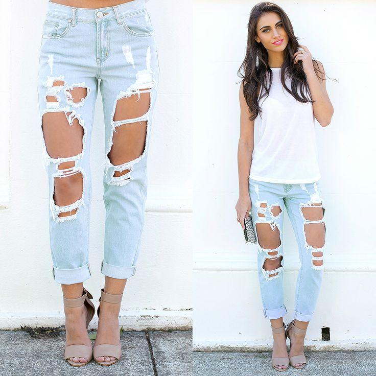 Shop @ http://bb.com.au ripped jeans, white singlet, style inspiration, saturday style, boyfriend jeans, light denim wash, pink lips, tan heels