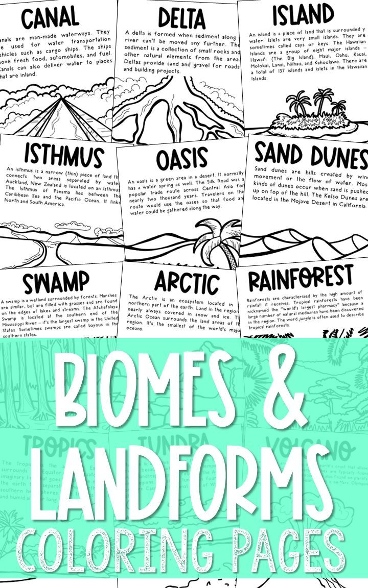 Set Of 28 Biomes And Landforms Coloring Pages With Informational Text Coloring Pages Or Posters Print 2 To 4 To Informational Text Biomes Science Unit Studies
