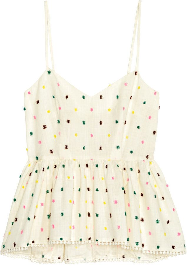 H&M - Peplum Camisole Top - Natural white/dotted - Ladies
