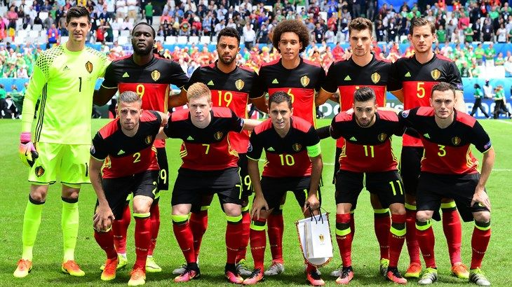 Jan, Toby and Mousa line-up with Belgium