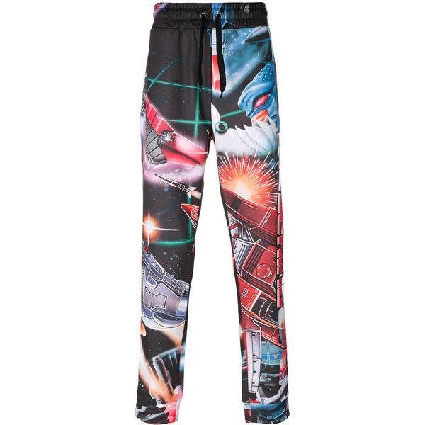 Moschino printed Transformer track pants ($475) ❤ liked on Polyvore featuring men's fashion, men's clothing, men's activewear and men's activewear pants