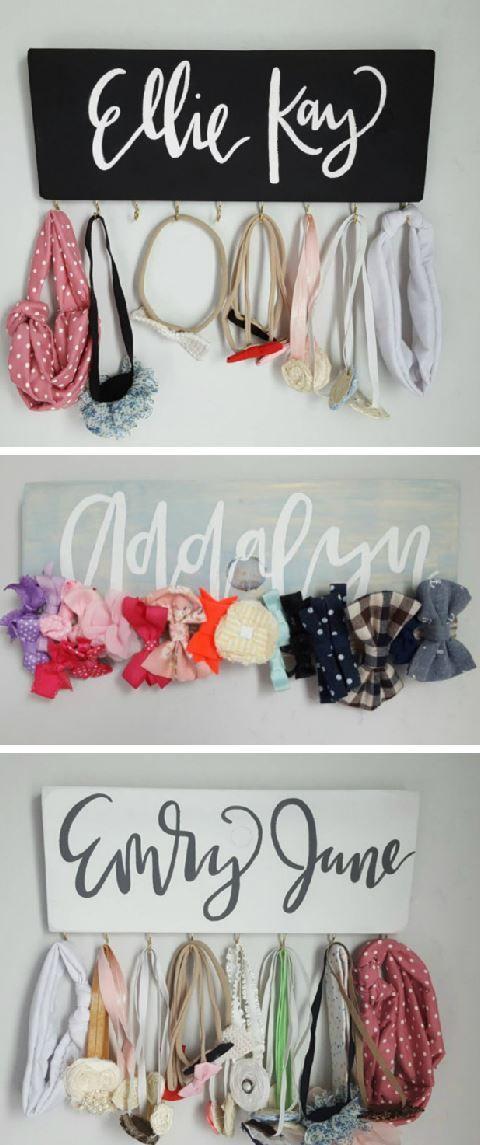 Headband Holder; bow holder; wooden headband hanger; wooden bow holder; custom bow holder; custom nursery decor; girl's nursery; #ad
