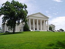 The Virginia State Capitol, designed by Thomas Jefferson and begun by Governor Patrick Henry in 1785, is home to the Virginia General Assembly.