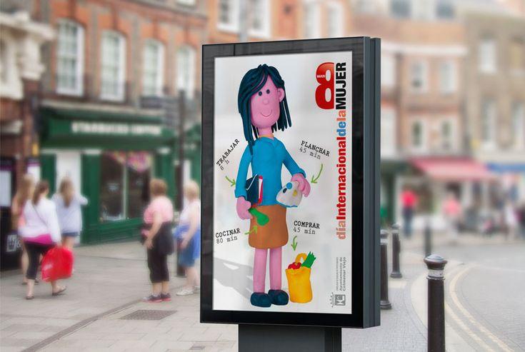 Campaña del día 8 de marzo, día de la mujer trabajadora hecha de plastilina. Mupi #disenografico #FelizDiaDeLaMujer #Diamujertrabajadora #8demarzo