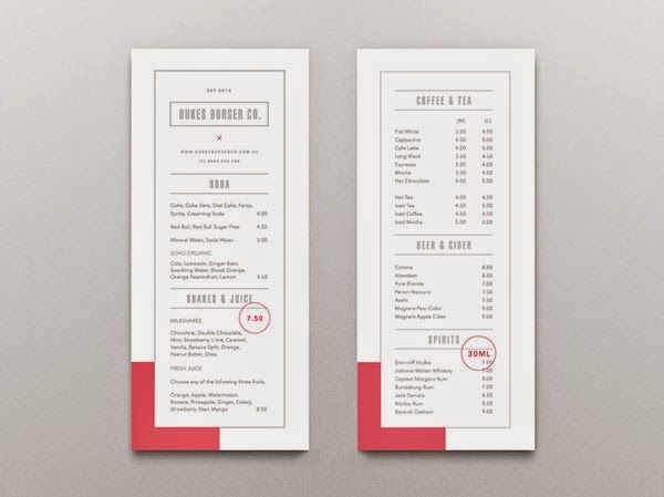 restaurant menu design inspiration