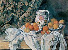 """""""Still Life with a Curtain"""" de Paul Cézanne 1895"""