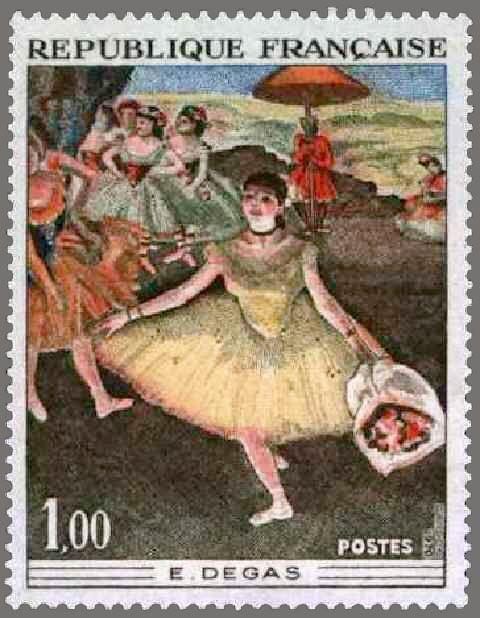 timbres de france/timbre france 1970 - 1653 - Danseuse au bouquet saluant tableau de Edgar Degas - Serie oeuvres d art.jpg