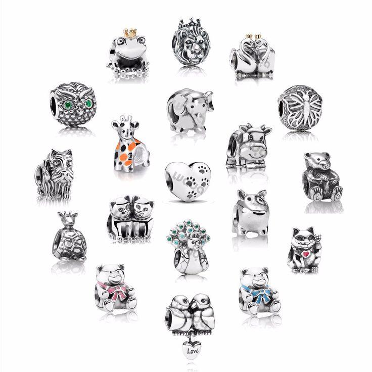 Стерлингового серебра 925 животных зоопарка плавающей европейский медальон бусины оригинальный DIY браслет подвески подходит ожерелье цепь браслет ювелирные изделия купить на AliExpress