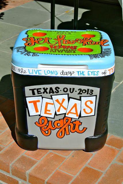 TX-OU weekend coolers painted by B.KRAFTY DESIGNS @b kelm #texas #texasfight