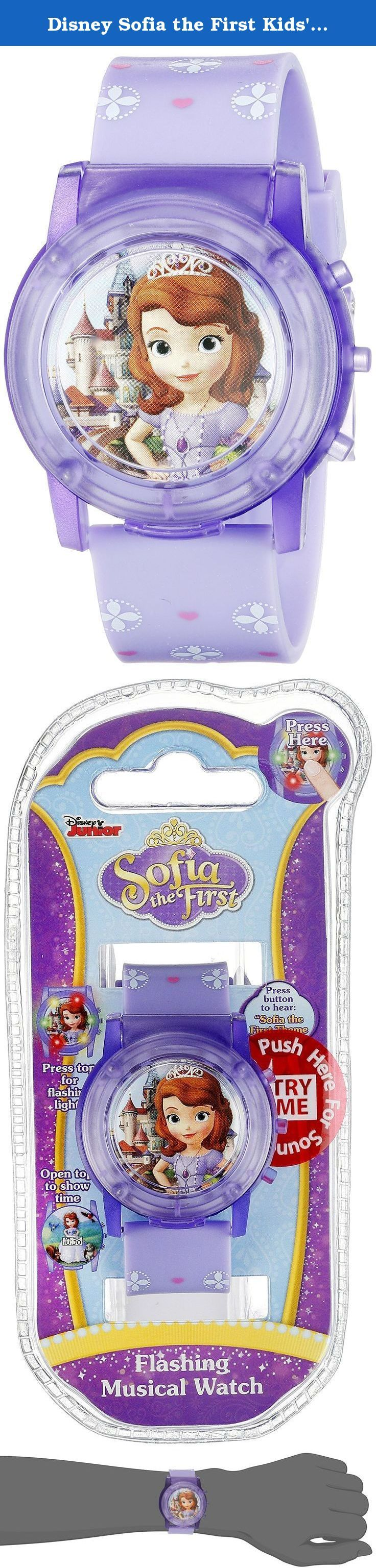 Disney Sofia the First Kids' SOF1561SR Digital Display Analog Quartz Purple Watch. Sofia the First LCD Pop Musical Watch. Push for Rotating Flashing Light. Analog-quartz Movement. Case Diameter: 25mm. Not Water Resistant.