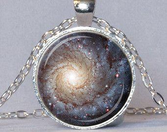 geek jewelry | GALAXY PENDANT Star Necklace Blue C ream Red Star Pendant Galaxy ...