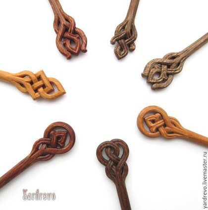 Заколки ручной работы. Ярмарка Мастеров - ручная работа. Купить Шпильки для волос вырезанные из дерева. Handmade. Шпилька, деревянные, русский