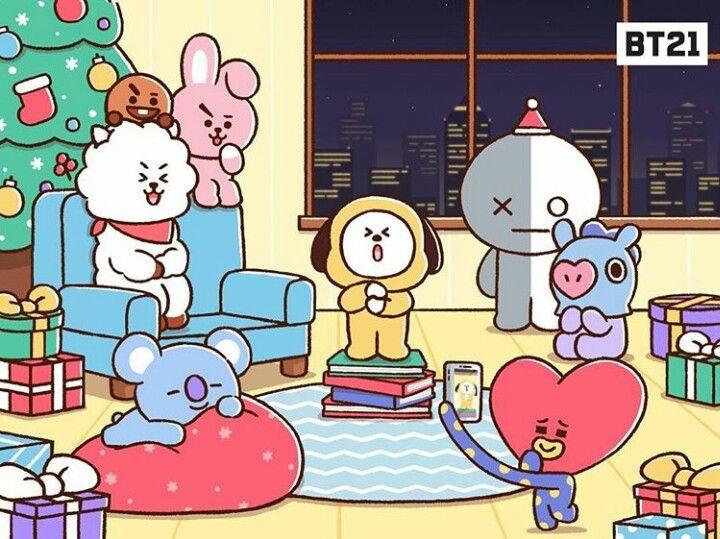 Bt21 Merry Christmas Bts Chibi Cute Cartoon Wallpapers Bts Fanart