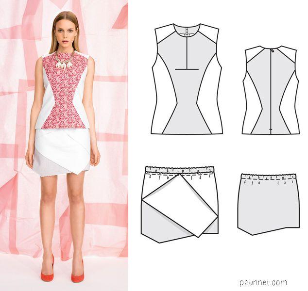 Burda Young Magazine top and skirt patterns http://www.paunnet.com/2013/09/burda-young-fw-2013.html