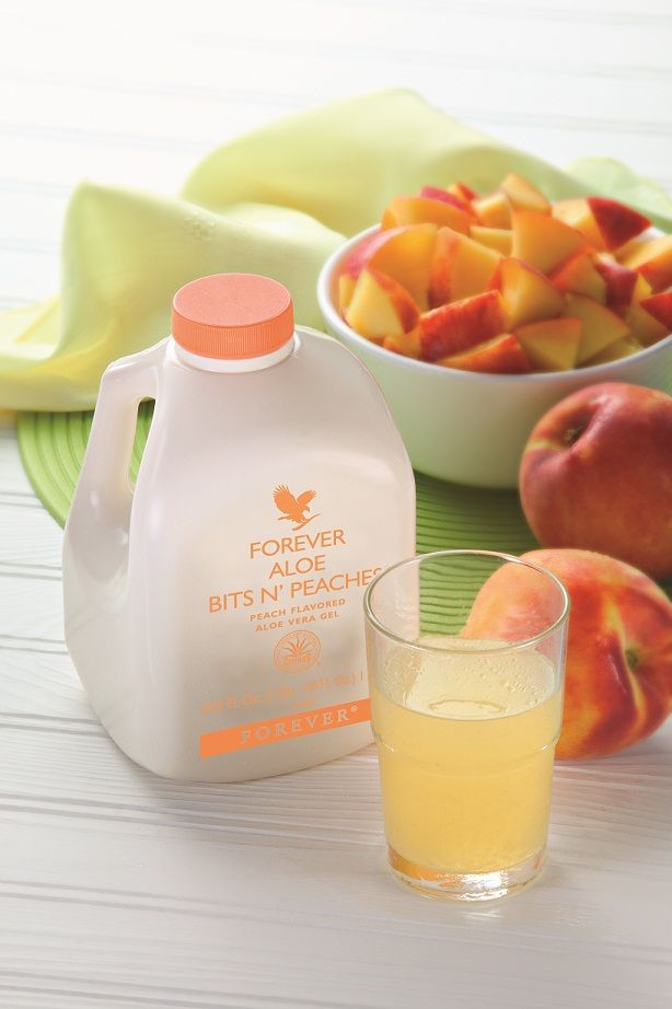 Forever Aloe Bits N' Peaches® offers many healthful ingredients – all packed into a great-tasting drink. Pour over ice or mix with fruit juice!   #myforeverdream