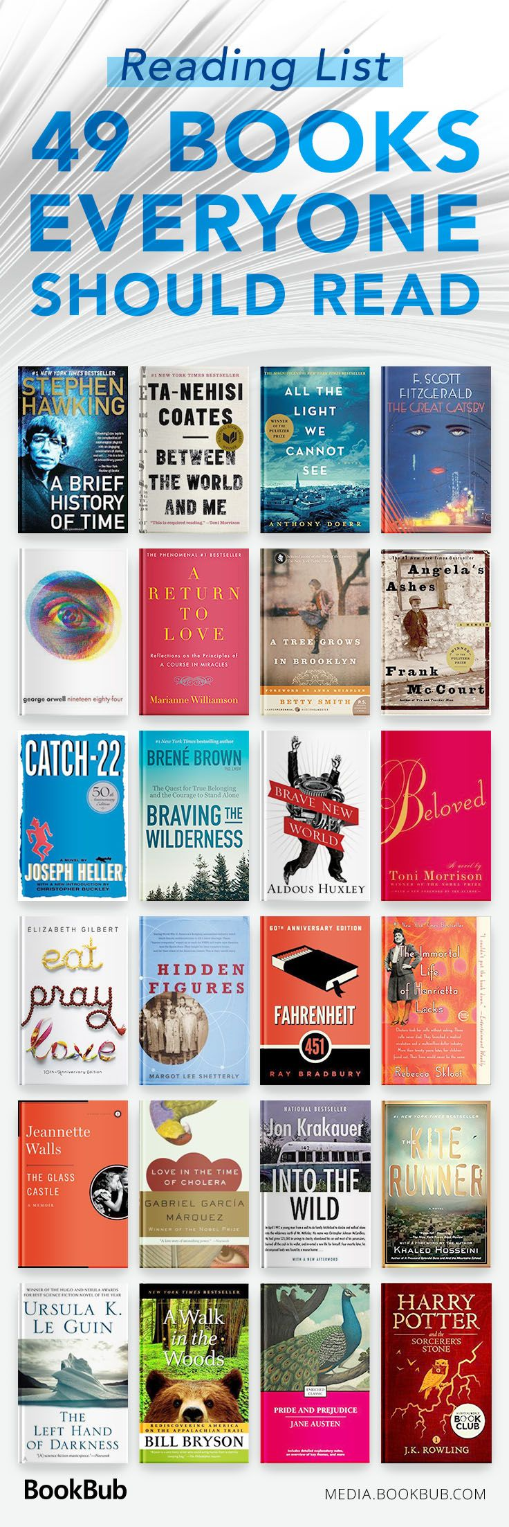 49 books everyone should read in their lifetime, including a mix of classic books, young adult books, and other life changing novels.