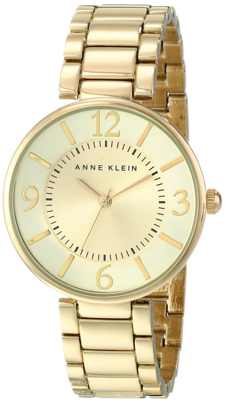 Cursive letter quot l quot cubic zirconia 14k gold finish pendant with 36 - Anne Klein Women S Ak 1788chgb Gold Tone Bracelet Watch