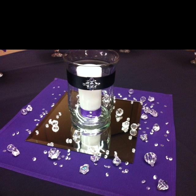 Mirror Candle Centerpiece Ideas : Simple centerpiece idea cloth napkin mirror decorate