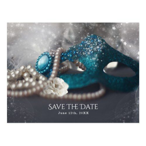 Elegant Masquerade Mask & Pearls Save the Date Postcard