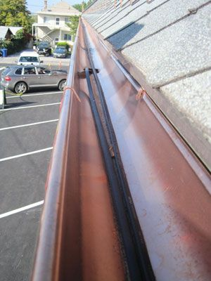 Guttermelt Deicing Cable In Copper Gutter. Keeps Water Flowing And Prevents  Ice From Building Up