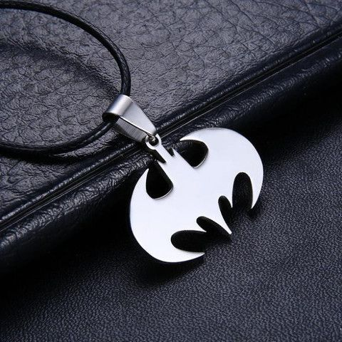 Free Shipping Fashion Jewelry Slippy Bat Batman Sign Pendant 316L Stainless Steel Necklaces leather chain Mens Necklaces