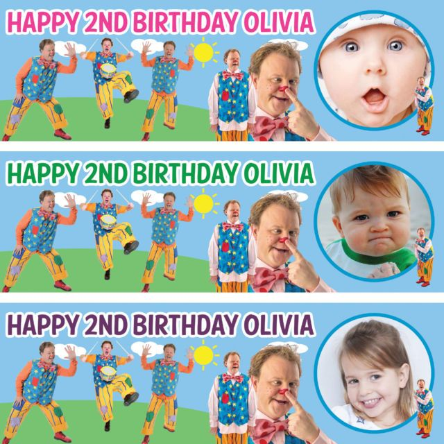 2 x personalized birthday banner party Mr tumble boys girls any name ages | eBay