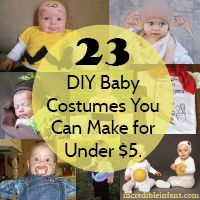 The scariest thing about Halloween is how it creeps up on you. Here are 23 DIY baby costumes to make using stuff around the house & a craft supplies.