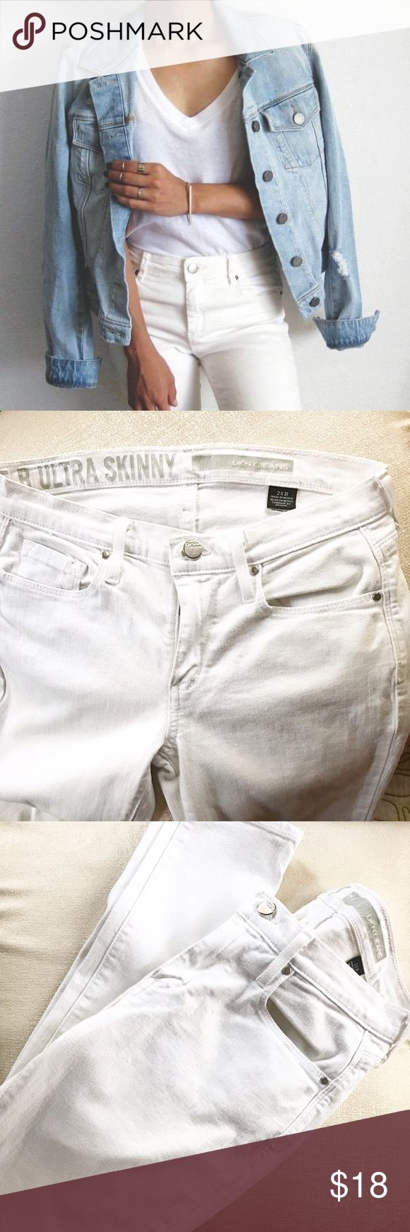 •host pick•White skinny jeans •ultra skinny jeans by DKNY / new without tag                •one of spring's most versatile denim items.                     •size 2 x 31 inseam. DKNY Jeans Skinny
