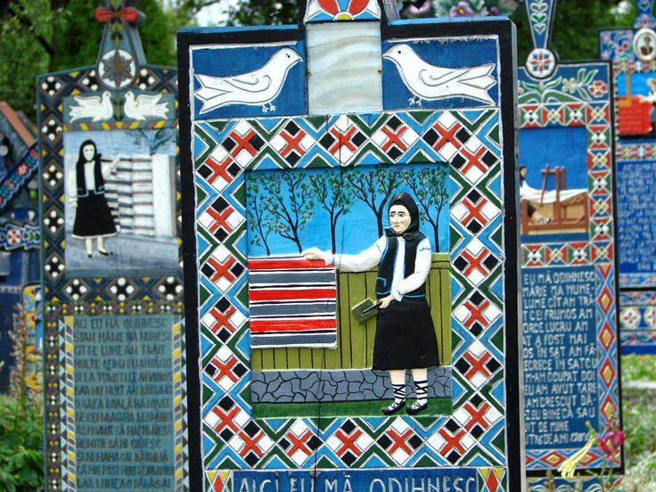 The unique Merry cemetery from Sapanta, Romania is famous for its colorful tombstones decorated with paintings and short original folk rhyming descriptions of the people buried there and of scenes...