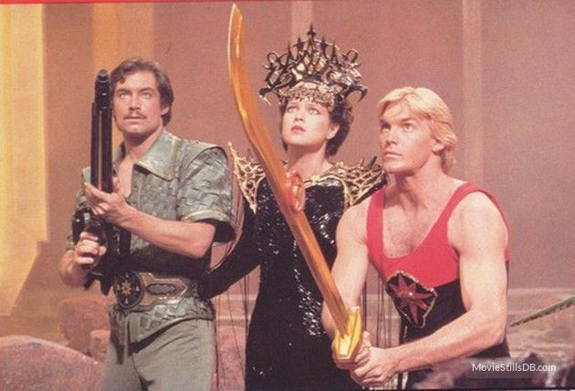 Flash Gordon - Publicity still of Timothy Dalton, Sam J. Jones & Melody Anderson