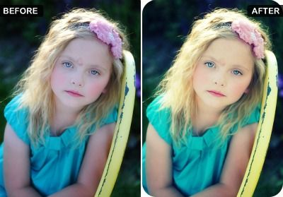 I chose this photo because it very obviously shows the use of color editing. I think it is ethical. The editing tools were just used to enhance the image and remove shadows. They make the little girl cuter.