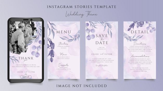 Beautiful Wedding Invitation Instagram Stories Template With Floral Ornament Beautiful Wedding Invitations Fun Wedding Invitations Instagram Story Template